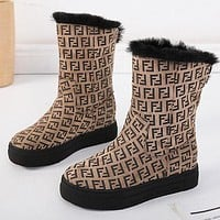 FENDI Winter Trending Women Warm Wool Abrasive Cloth Thick Sole Snow Boots Khaki