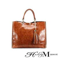 Brown Double Handled Tote with Studs - HaileyMason, LLC Store