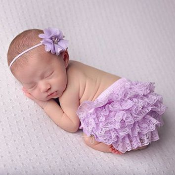Baby Cotton Lace Bloomers Newborn Flower Headband Shorts Cute Baby Bottom Diaper Cover Toddler Girls Summer Satin Short Pants
