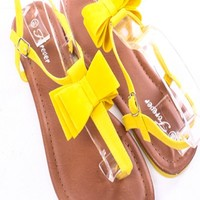 YELLOW FAUX SUEDE BOW T-STRAP ANKLE STRAP FLAT SANDALS