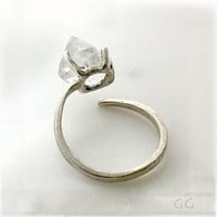 RING with Diamond Sterling Silver Hammered Forged by GGoriginal