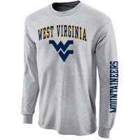 West Virginia Mountaineers Gray Big Arch N' Logo Long Sleeve T-Shirt