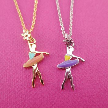 Ballet Dancer Ballerina Croise Derriere Pose Shaped Pendant Necklace in Silver or Gold