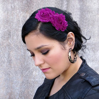 Headband for Women, Shabby Chic Headband in Plum for Adults and Girls by Flower Couture