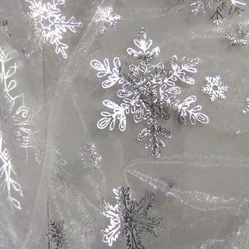 Frozen Fabric Queen Elsa White Clear Snowflake Organza Disney Blackish Silver Snow White Sparkle Snowflakes Cape Costume Fabric By The Yard