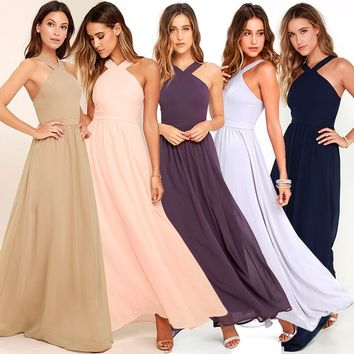 Women's Fashion Summer Maxi Plus Size Backless Bandage Sexy Party Sundress Sleeveless Cross Boho Long Dresses