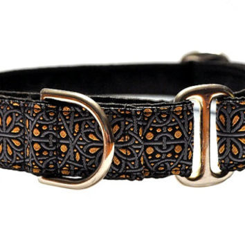 Silver and Gold Jacquard Martingale Collar - 1 Inch