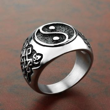 YingYang Men Rings Signet Seal Male Ring Vintage Titanium Stainless Steel Punk Rock Hip Hop Biker Band Gothic Viking DCR080