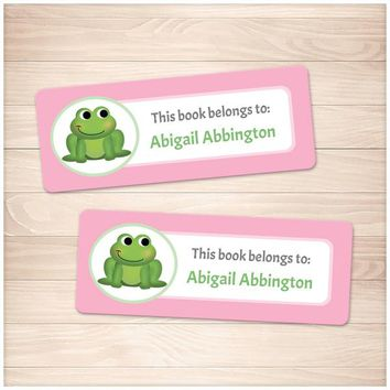 Cute Frog Pink Bookplate Labels for Name Labeling Books - Printable