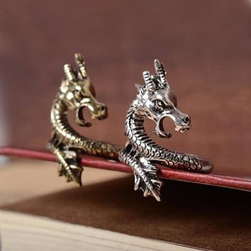2018 New Arrival Charms Punk Fashion Exaggerated Animal Rings for Men and Women Vintage Retro Dragon Ring Jewelry Free Shipping