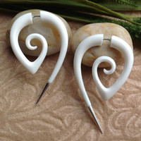 "Fake Gauge Earrings, ""The Girl With The Dragon Tattoo"" Bone, Naturally Organic, Hand Carved, Tribal"