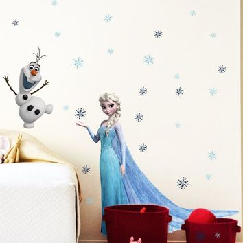 Cartoon Frozen Wall Stickers Elsa Princess Olaf Wall Stickers Tags For Living Room, Girls Room, Bedroom, Chirdren Room