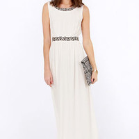 Highs and Bows Embroidered Ivory Maxi Dress