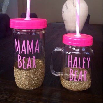 Personalized Mason Jar Tumblers - Mother Daughter Mason Jar Tumblers, Mothers Day Gift, Glitter Mason Jar tumblers, Custom Tumblers
