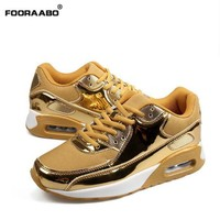 Fashion Men Shoes Lace-up Men Casual Shoes Tenis Feminino Breathable Air Mesh Walking Shoes Mens Trainers Zapatillas Hombre Gold