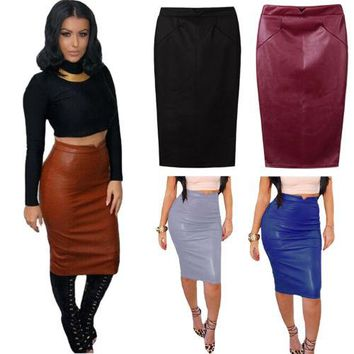 New Women PU Leather Skirt Bandage Bodycon Vintage High Waist Pencil Skirts NX84