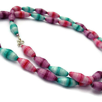 Pink, Purple and Aqua Necklace - Ombre, Pastel, Paper Beads