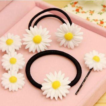 CREYG8W Elastic Hair Bands/Hairclips with Daisy Ponytail Braids  Hair Accessories  girl/women Gum for Hair.