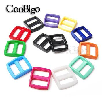 "100pcs Pack 3/4""(20mm) Colorful Plastic Curved Tri Glide Slider Adjust Buckles Wider Style Backpack Straps Bag Parts Accessories"
