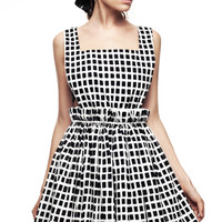 Black And White Checkered Dress With Cinched Waist by Kalmanovich for Preorder on Moda Operandi