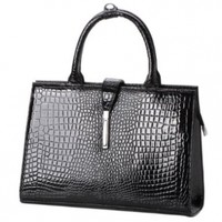 MG Collection Mathis Patent Top Handle Bag, Black, One Size