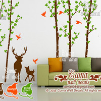 Tree and deers wall decal Spring Tree and birds wall sticker Nursery wall decal removable- Z245 by Cuma
