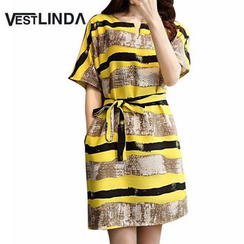 VESTLINDA 2018 Style Summer Sundress Woman Loose Big Yards Yellow Stripper Dress Home Short Sleeve New Casual Dresses with Belt