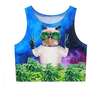 Weed glasses hispter cat tank tops 3d DJ Cool cats graphic cropped Cat taking ph