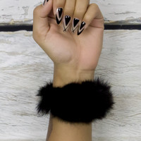 Black Furry Hair Tie