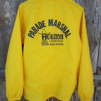 80s Crazy Yellow Houston Livestock Show and Rodeo Windbreaker Jacket by Auburn Sportswear, Men's L // 80s Nylon Jacket