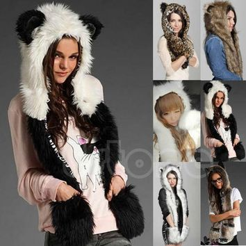DCCKJG2 10 Styles Warm Winter Faux Animal Fur Hat Fluffy Plush Cap Dint Hood Scarf Shawl with Gloves Set Leopard Panda Hat Scarf Set