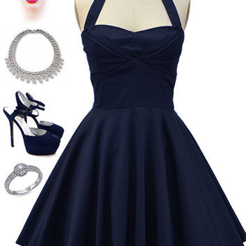 50s Style Solid NAVY TRAVELING CUPCAKE TRUCK Dress with HALTER Petal Bust