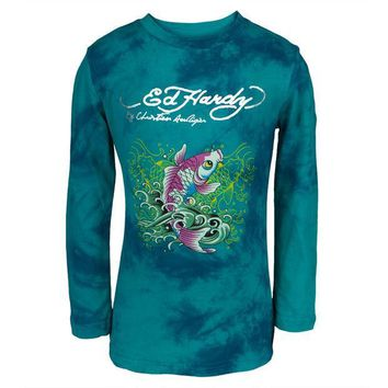 PEAPGQ9 Ed Hardy - Two Koi Fish Swimming Girls Juvy Long Sleeve T-Shirt