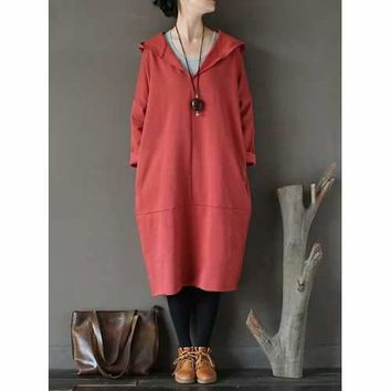 Casual Pure Color V-neck Loose Long Sleeve Hooded Dress