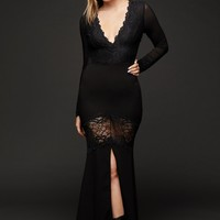Dark Mermaid Lace and Mesh Contrast Deep V Gown