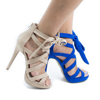 Madden13 by Wild Diva, Multi Strappy Ankle Wrap Platform Stiletto Heel Dress Sandals