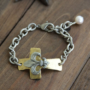 Sideways Cross Bracelet, gold hammered cross, pewter, fleur de lis, pearl, two tone