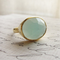 Chalcedony gold ring mint green ring Simple by OliveYewJewels