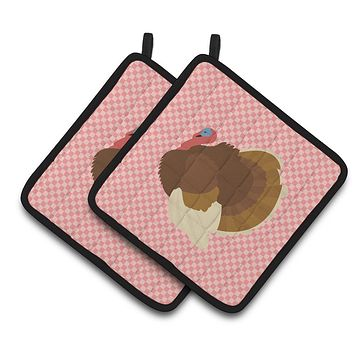 French Turkey Dindon Pink Check Pair of Pot Holders BB7990PTHD