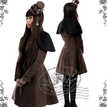 Beyond the End of Time, Steampunk Dandy Double-Breasted Suedette Jacket & Detachable Cape*Instant Shipping