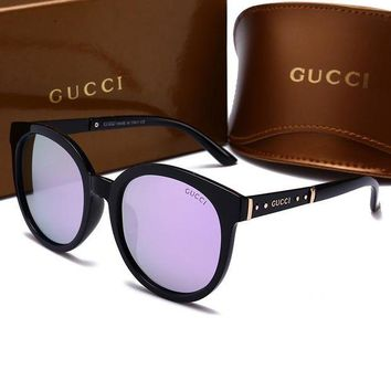 GUCCI Unisex Simple Summer Sun Shades Eyeglasses Glasses Sunglasses Purple I-HWYMSH-YJ