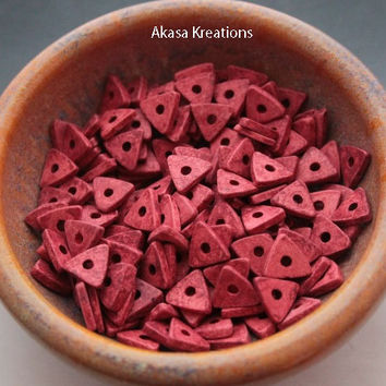 13mm Light Muted Red Mykonos Greek Ceramic Beads Triangles (qty 25) Pyramid Color Therapy Energy Passion Willpower
