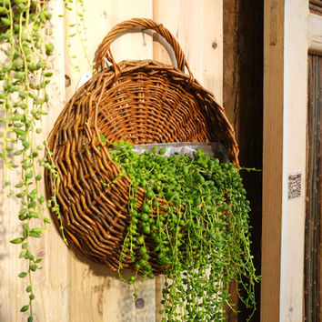 Rattan Flower Basket Shape Flower Plant Hanging Vase Container Home Indoor Office Wedding Decor Wickered Wall Vase Free Shipping
