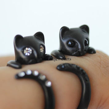 black cat, black cat ring, cat ring, cat, animal ring, animal wrap ring, animal jewelry, man ring, burnished ring, retro ring