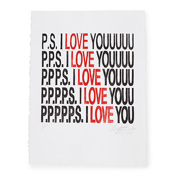 P.S. I Love You Linocut Print | romantic art