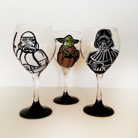 Star Wars Wine Glasses - set of 3 - pick your characters