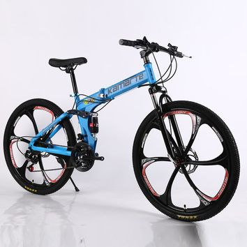 26inch folding mountain bike 21 speed double disc brakes bicycle 6 knife wheel and 3 knife wheel mountain bike