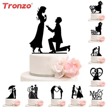 Tronzo Wedding Cake Topper Bride Groom Mr Mrs Acrylic Black Cake Toppers Wedding Decoration Mariage Party Supplies Adult Favors