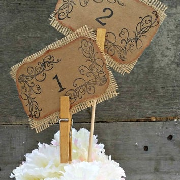 Rustic Wedding Table Numbers, Wedding Table Decor, Kraft Paper Table Number , Burlap Wedding, Set 1-10