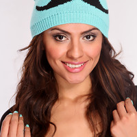 Sea Foam Black Knit Mustache Beanie Hat